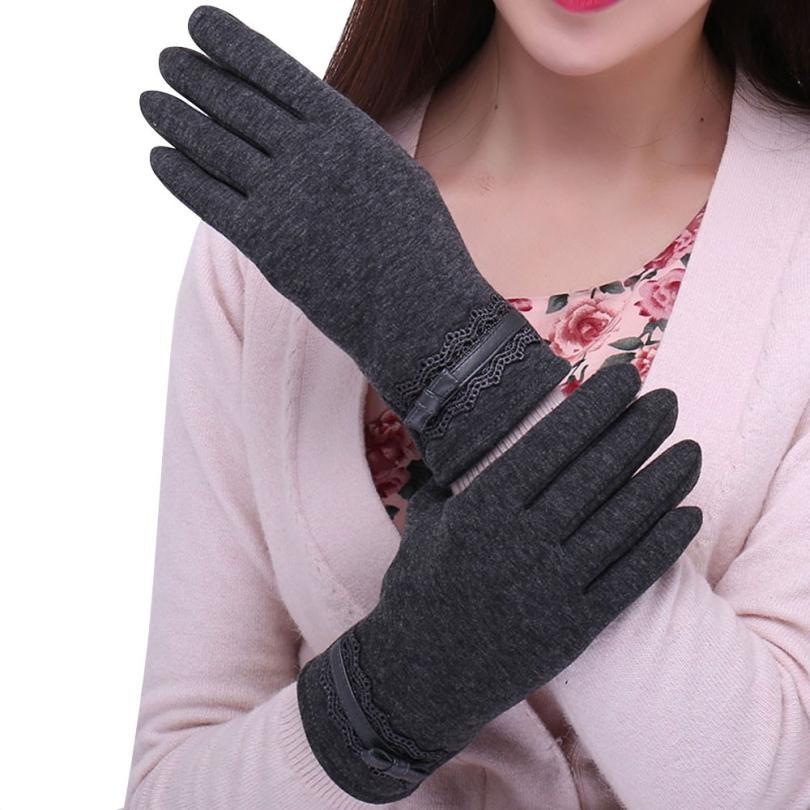 Luxury Screen Gloves Women Winter Fur Mittens Ladies Sports Outdoor Black Gloves Womens Guantes Hand Warmer Glove #JO