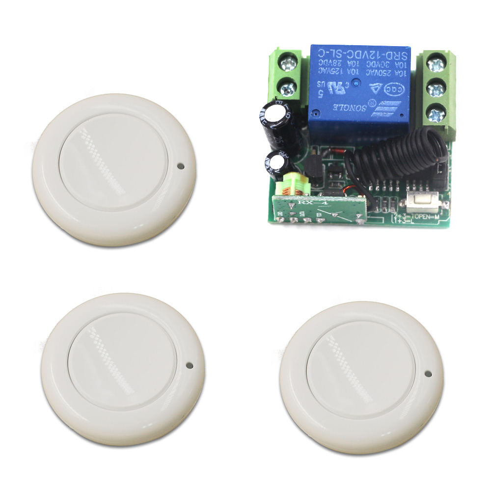 Hot Sales DC 12V 10A 1CH 315MHz/433MHZ Wireless RF Remote Control Switch Teleswitch 3* Round Transmitter+ 1*Receiver hot sales dc 12v 1ch 10a 4 receiver