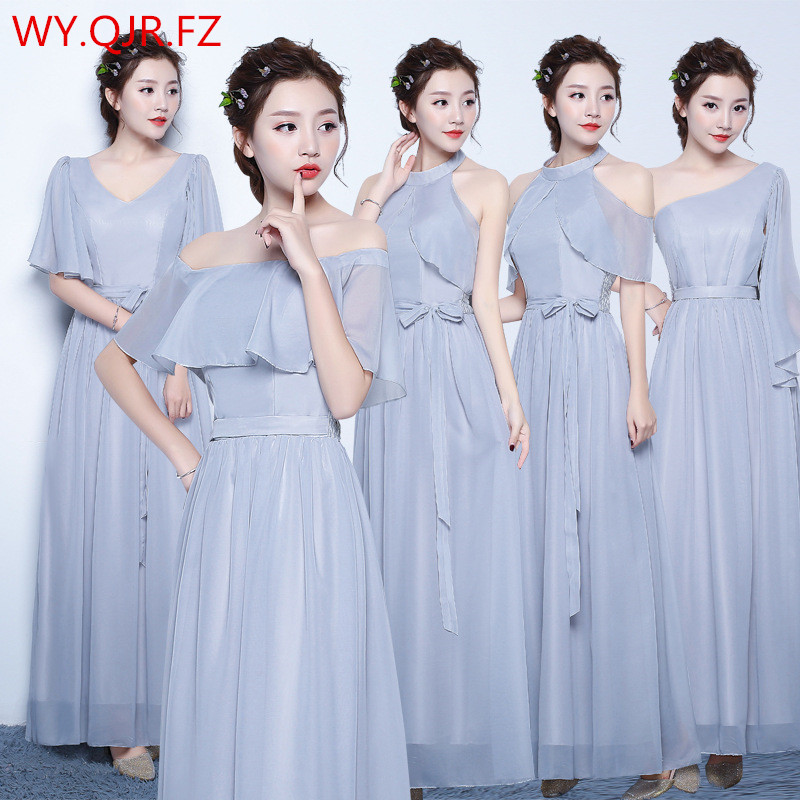 ZX50H#Sister group gray chiffon long   Bridesmaid     Dresses   wedding party   dress   2018 gown prom women's fashion cheap wholesale cloth