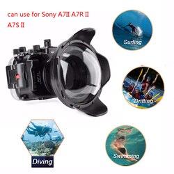 Meikon A7II A7R II 40 M Onderwater Waterdichte Behuizing Case Voor Sony A7 II A7R II A7S II w/ fisheye Dome Poort Lens