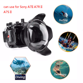 цена на Meikon A7II A7R II 40M Underwater Waterproof Housing Case For Sony A7 II A7R II A7S II w/ Fisheye Dome Port Lens