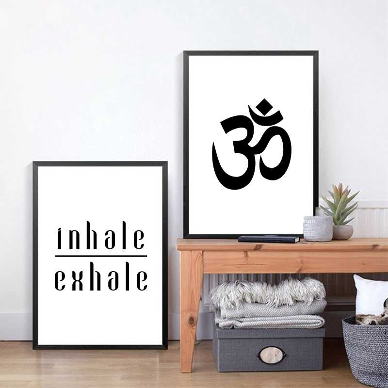 Aum Ohm Om Poster Yoga Quote Canvas Painting , Inhale exhale breathe Prints Yoga Meditation Typography Wall Art Decor