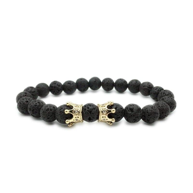 Bracelets & Bangles Generous 1pc Crown Lava Bracelet White Stone Stone Beads Men Bracelets Charm Matte Black Stone Bracelets For Man