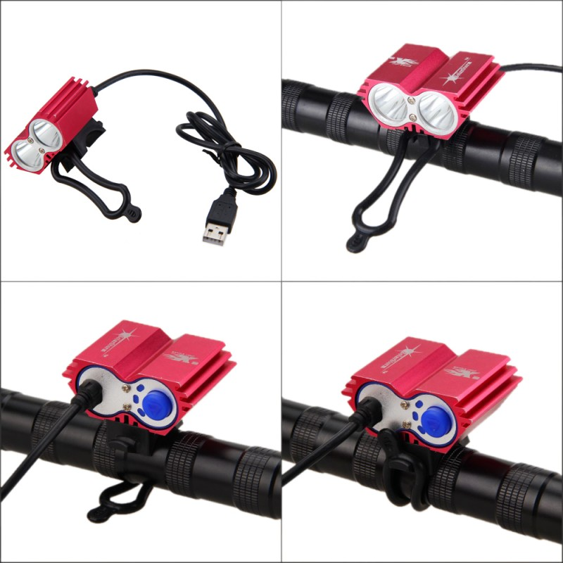 Red Aluminum USB LED Bike Light 8000 Lumens XM-L T6 LED Bicycle Cycling Headlamp +Battery Pack+Charger +Rear Light