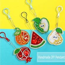 New1 / 5/6/4 Pcs Diamond Keychain Pendant 5D DIY Cartoon Fruit Full Embroidery Mosaic Gift
