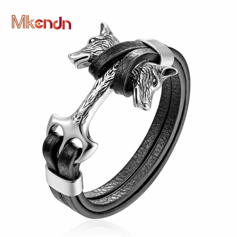MKENDN New Fashion Stainless Steel Men Bracelet Double Wolf Shackles Black Charm Leather Bracelet Men Wristband Fashion Jewelry opk biker stainless steel men bracelet
