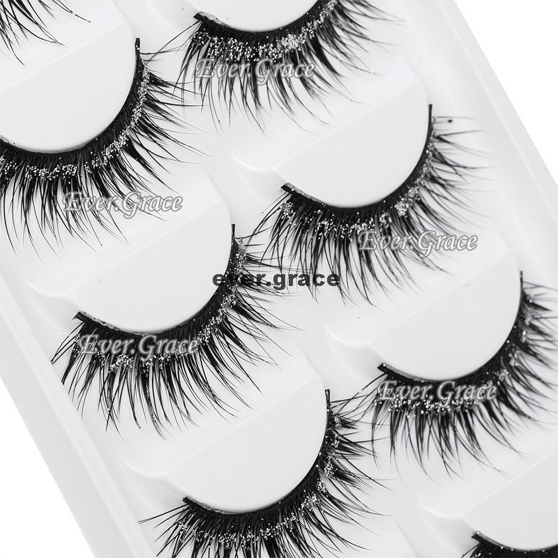 5 Pair Makeup Beauty Shimmer Glitter False Eyelashes Long Thick