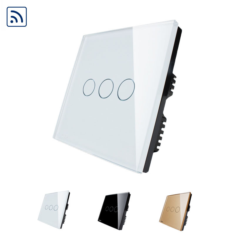 Livolo UK Wall Switches Ivory White Crystal Glass Panel, Wireless Remote Touch Switch 3 Gang 1 Way Light Touch Switch 2017 free shipping smart wall switch crystal glass panel switch us 2 gang remote control touch switch wall light switch for led