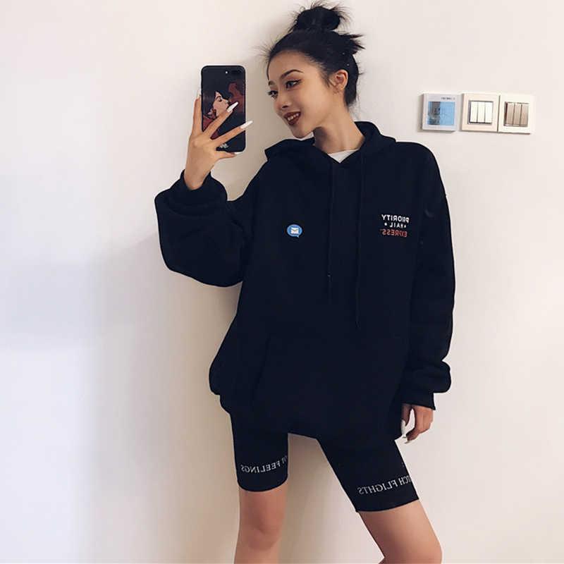 Pinggang Tinggi 2019 Fashion Celana Pendek Wanita BIKER Celana Pendek Kebugaran Korea Kasual Seksi Katun Pendek Hitam Athleisure Bersepeda Celana Pendek
