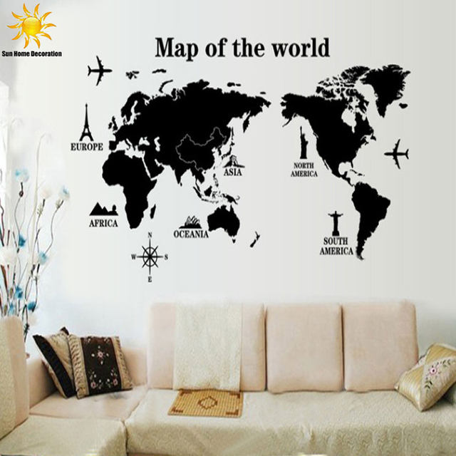 Online shop free shipping travel world map removable decals art home free shipping travel world map removable decals art home decoration tv backdrop wallpaper wall stickers wall art decals vinyl gumiabroncs Image collections
