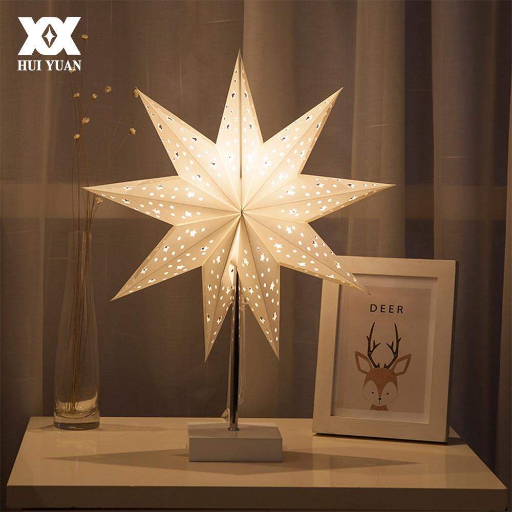 LED Desk Lamp Table Light Paper Star Wood Lamp Nordic Design of Modern Retro Minimalist Bedside Living Room Table Lamps