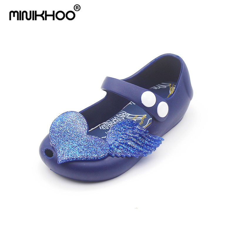 Mini Melissa 2018 New Color Love Jelly Shoes Princess Shoes Soft Children Sandals Girls Cute Soft Bottom Sandals High Quality