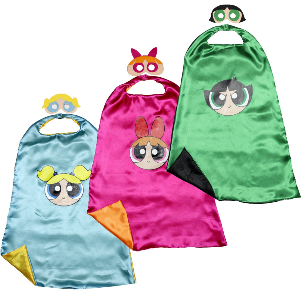 NY! supergirl cape + mask Powerpuff Girls kostym supergirl blomma bubblor buttercup födelsedag leveranser fest favoriserar