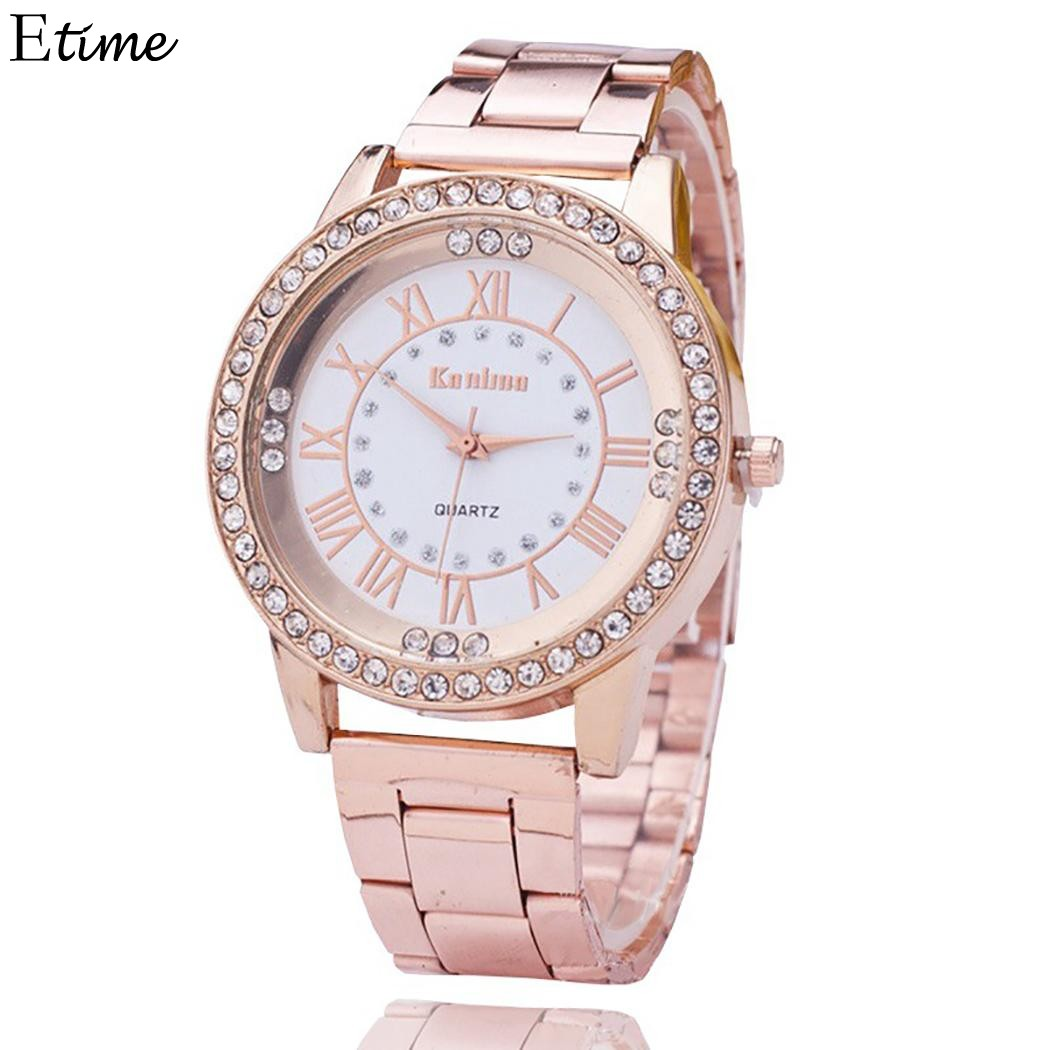 Fashion Watch Women relogio feminino Women Watches Steel Band Rhinestone Dial Analog Quartz Wrist Ladies Watch Clock 3 Colors women fashion watches rose gold rhinestone leather strap ladies watch analog quartz wristwatch clocks hour gift relogio feminino