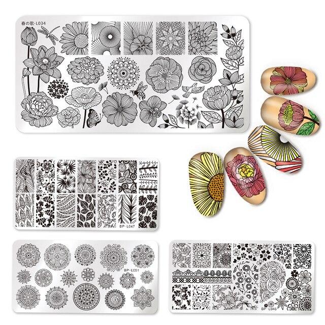 Nail Art Rechthoek Stempelen Template Liefde Valentijnsdag Lijn Bloem Vlinder Manicure Image Plate DIY Nail Schilderen