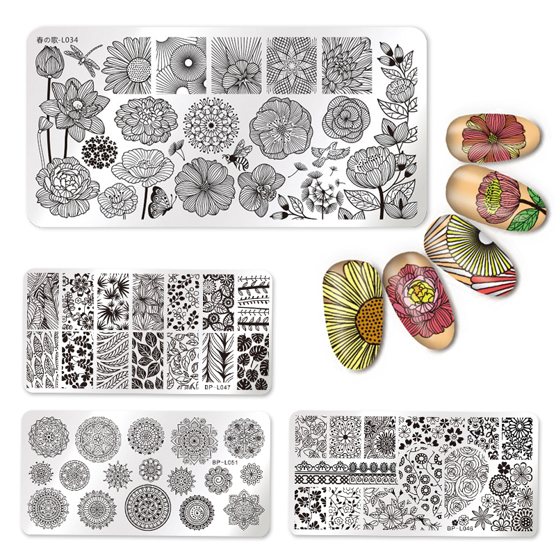 Nail Art Rectangle Stamping Template Line Flower Butterfly Manicure Image Plate DIY Nail Painting