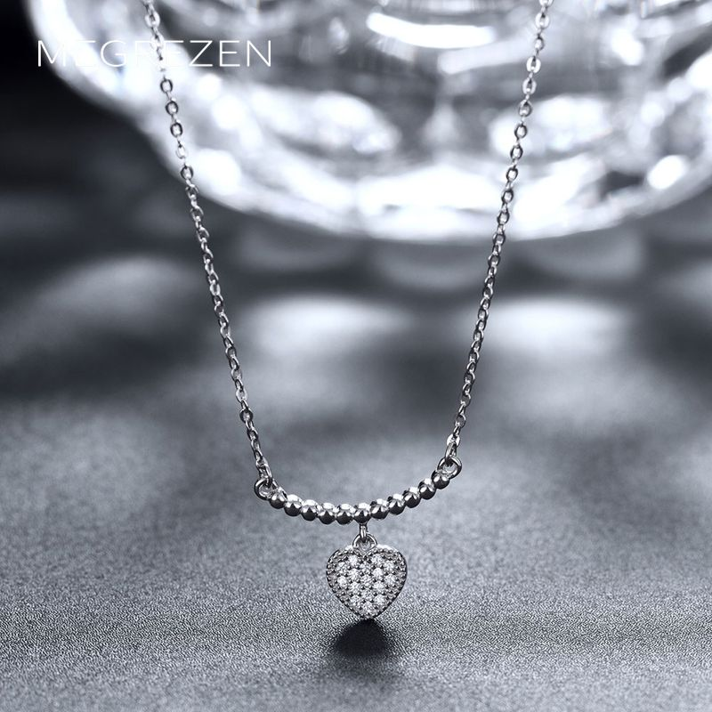 Sterling Silver Heart Necklace Decoration Women Charms Bijoux En Argent 925 Necklaces Pendants Cz Diamond Jewelry