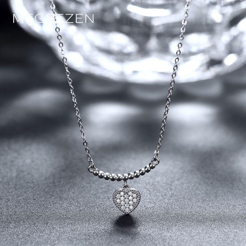 Sterling Silver Heart Necklace Decoration Women Charms Bijoux En Argent 925 Necklaces Pendants Cz Diamond Jewelry