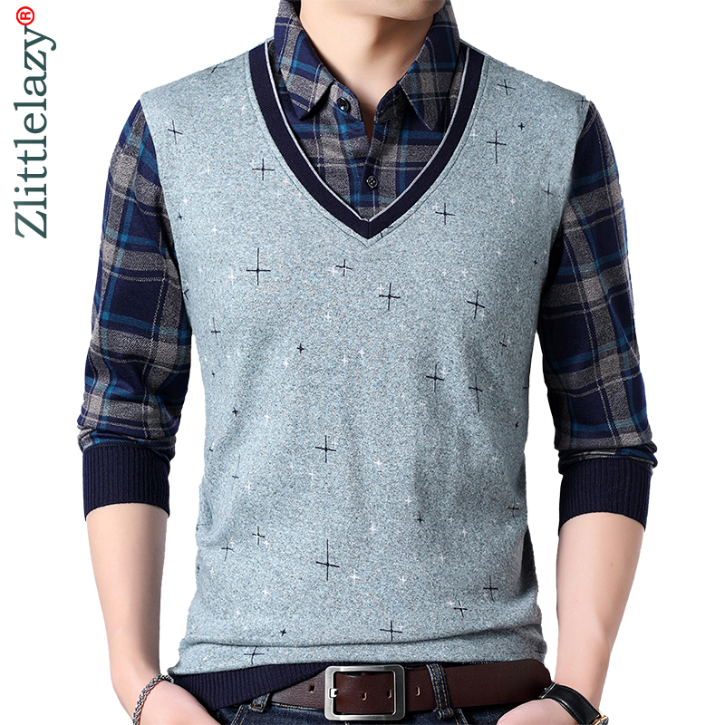 2019 Brand Casual Cross Winter Warm Pullover Knitted Fake Two Pieces Male Sweater Men Thick Mens Sweaters Jersey Clothing 1279