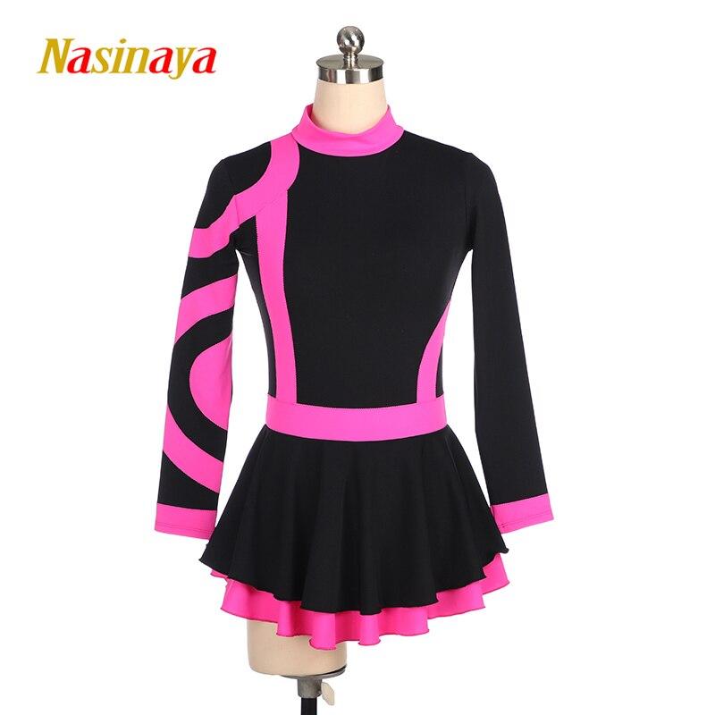 Nasinaya robe de patinage artistique hauts avec jupe concours personnalisé jupe de patinage sur glace pour fille femmes enfants Performance
