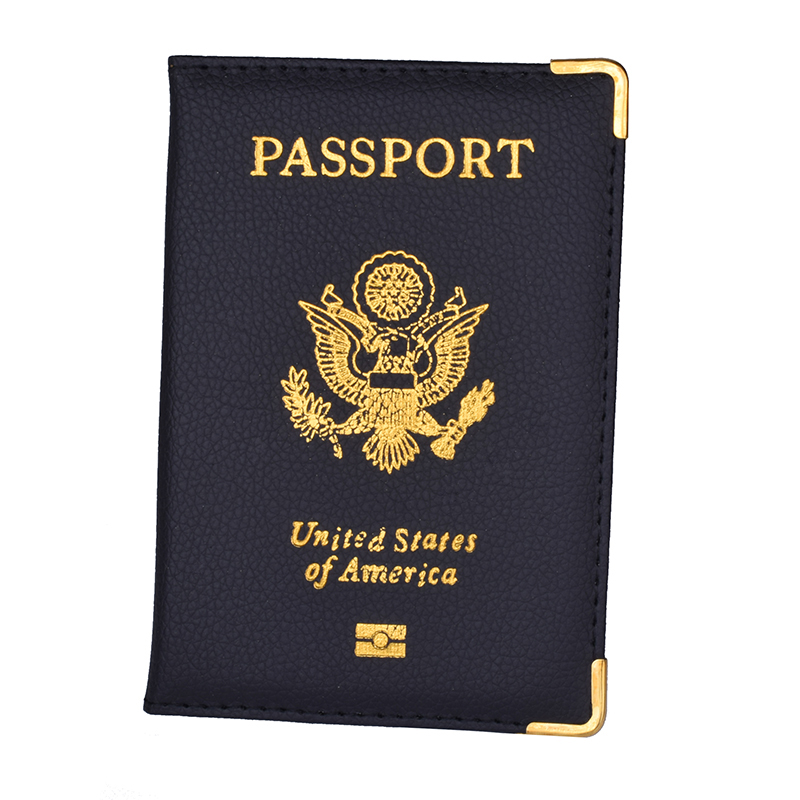 Blue USA Leather Passport Case Wallet Cover Card Case ID Holder US Emblem Gold