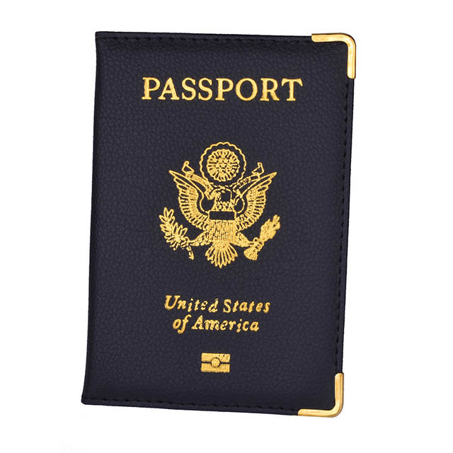 698c6d6ab8dc PU Leather Travel USA Passport Cover Women US Passport Holder American  Passport Case for America Girls Men Case Passport Wallet