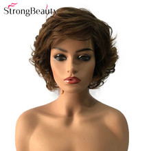StrongBeauty Short Curly Hairstyle Wigs Synthetic Hair Capless Black/Brown Mix Heat Resistant Women Wig ultrashort curly capless synthetic wig