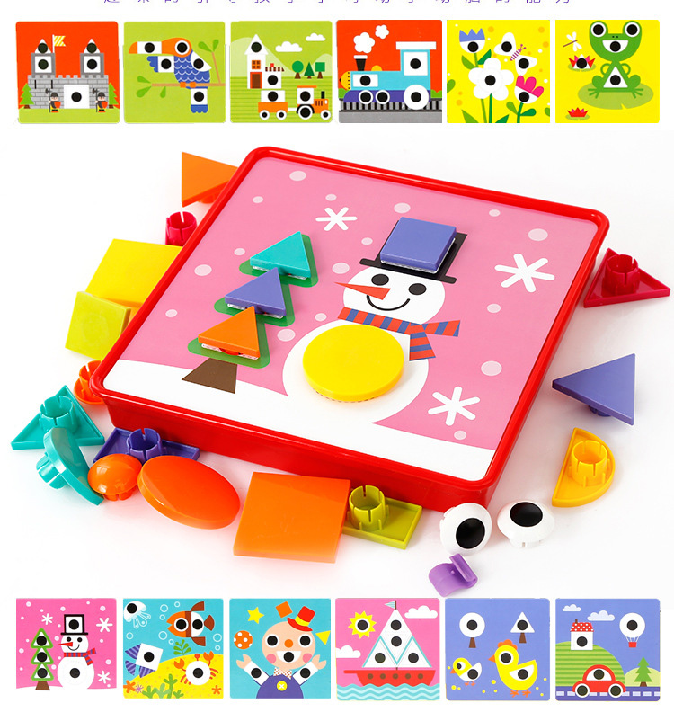 Creative Mosaic Puzzle Toys For Kids Geometry Shape Matching Mushrooms Nails Button Baby Preschool Educational Learning Gift