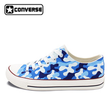 Custom Design Navy Camouflage Pattern Hand Painted Shoes Unisex Converse Chuck Taylor Low Top Canvas Sneakers for Man Woman