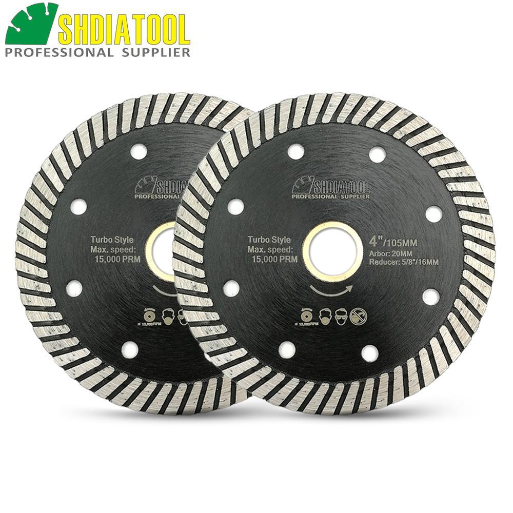 SHDIATOOL 2 Pcs Diamond Hot Pressed Diamond Turbo Blade For Hard Material Ceramic Tile Granite Cutting Disc Diamond Wheel