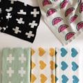 Bebé de Punto de Algodón Manta Swaddle Mantas Cobertores Propagación A Cuadros Lindo Toallas de Baño Estera del Juego de Regalo Sofá Cama Manta de Paseo