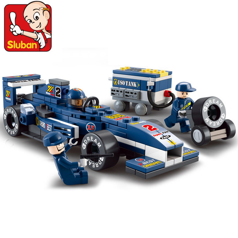 M38-B0351 SLUBAN City 196Pcs F1 Racing Car Model Building Blocks Classic Enlighten DIY Figure Toys For Children Compatible Legoe 10639 bela city explorers volcano crawler model building blocks classic enlighten diy figure toys for children compatible legoe
