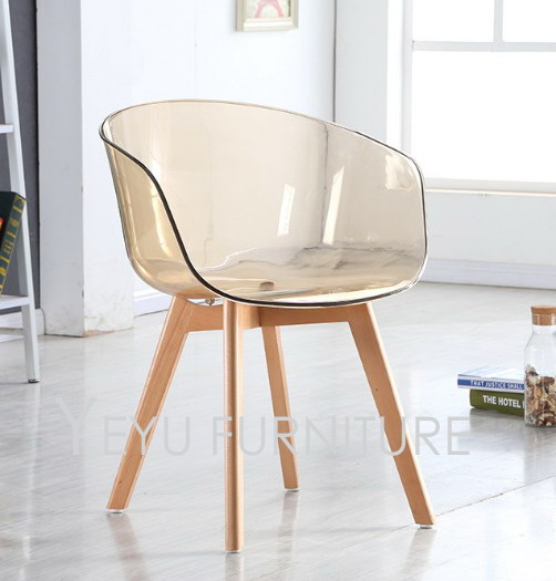 Minimalist Modern Design Transparent Plastic and Solid Wooden Leg Dining Arm  Chair Modern Home living room - Popular Wood Arm Chairs-Buy Cheap Wood Arm Chairs Lots From China