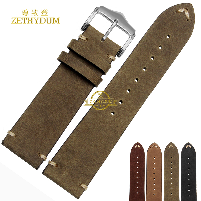 Retro Frosted Genuine leather bracelet handmade watchband 18 20mm 22mm watch band Wrist watch strap wristwatches wholesale nylon watchband 20mm 22mm watch strap stitched wristwatches band bottom is genuine leather bracelet pin buckle accessories