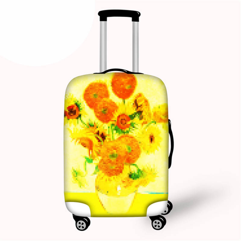 Van Gogh Oil Painting Printed Sunflower Luggage Protective Cover For 18-28 Inch Suitcase Anti- Dust Luggage Covers