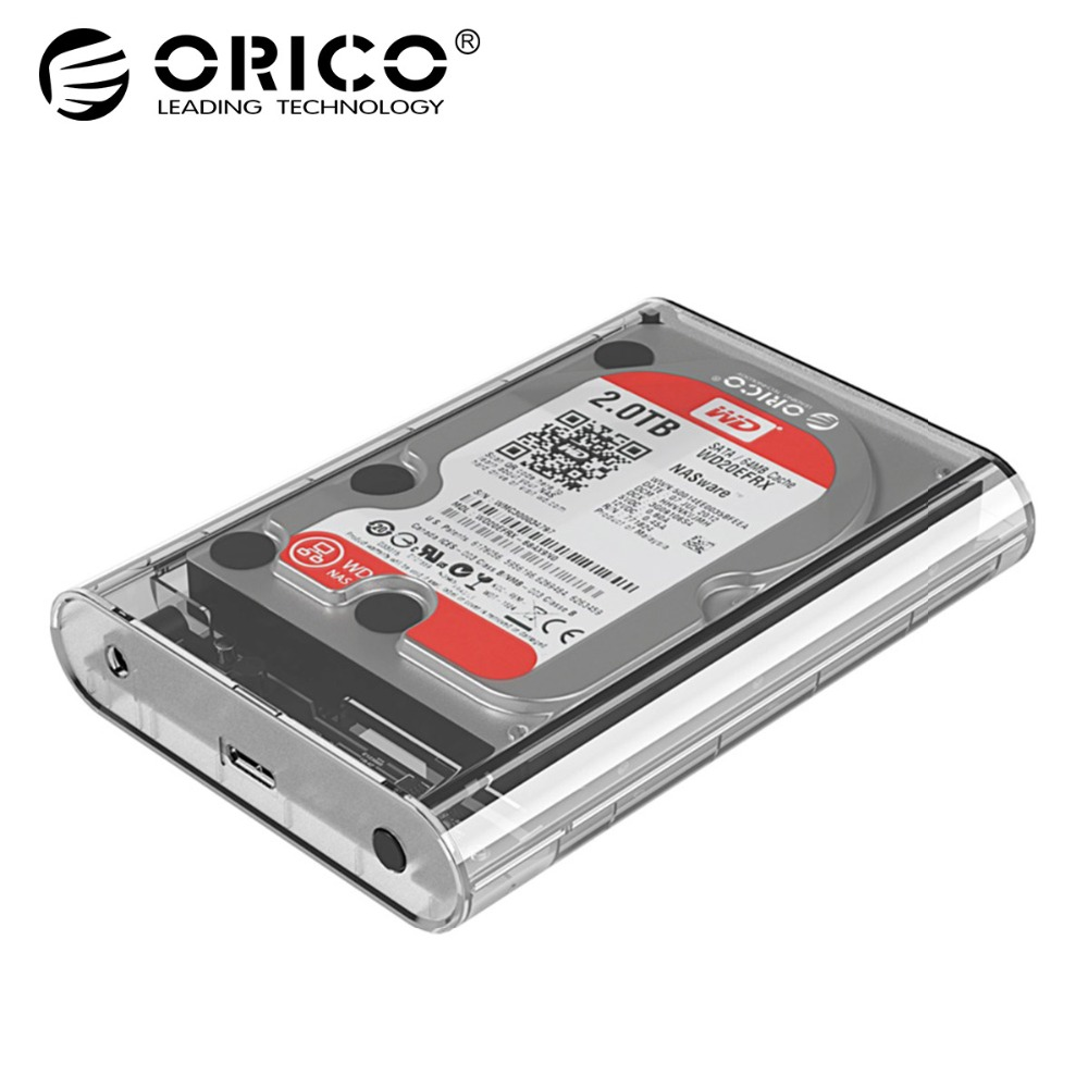 ORICO 3.5 inch Transparent HDD Enclosure Sata USB 3.0 Hard Drive Case Tool Free External Hdd Box Support UASP Up to 8TB все цены
