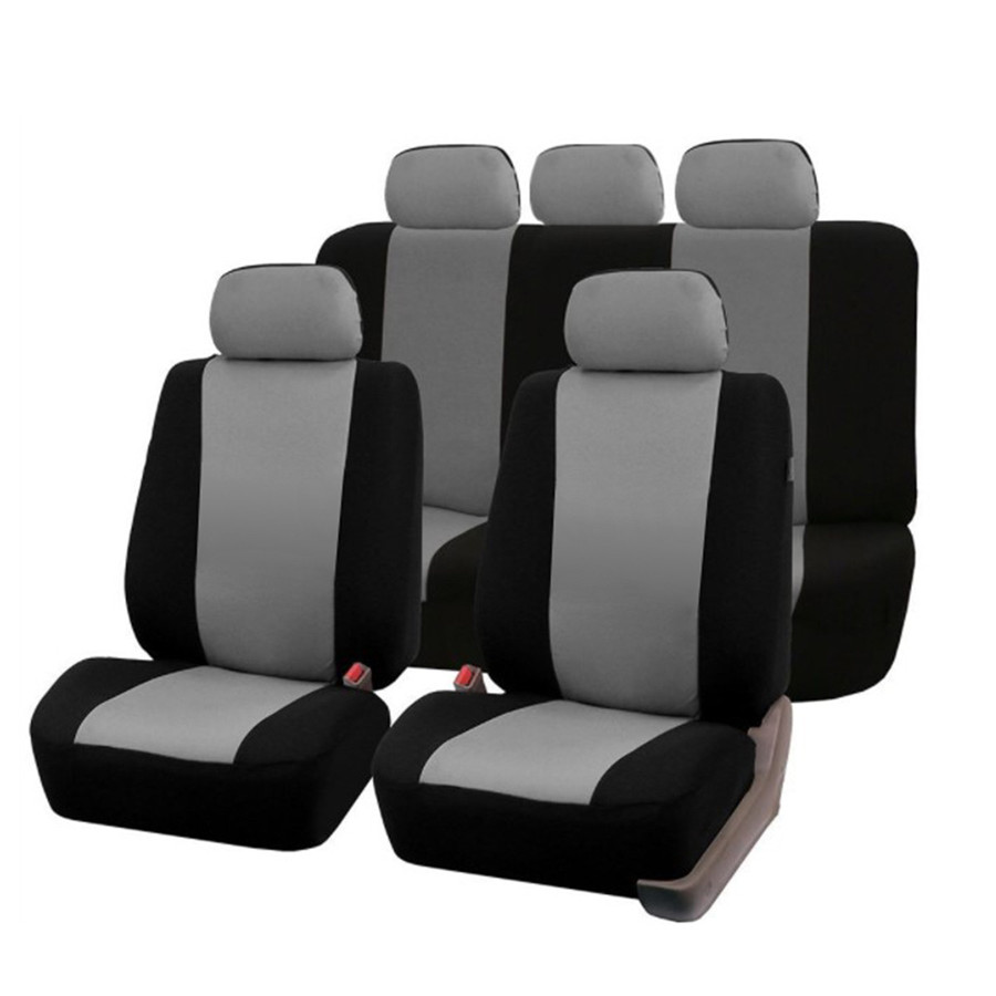 Universal Full Set Car Seat Covers Polyester Fits Gray /Black For Auto Truck SUV 5 Heads