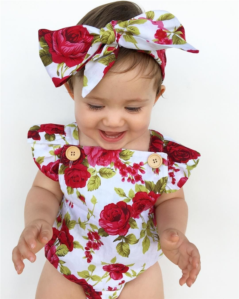 2017 Floral Newborn Baby Girl Clothes Ruffles Sleeve Bodysuit +Headband 2pcs Outfit Bebek Giyim Sunsuit 0-24M