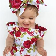 2017 Floral recién nacido bebé niña ropa volantes manga mono + diadema 2  piezas traje silicona Giyim Braga 0-24 M d7c64ddc737