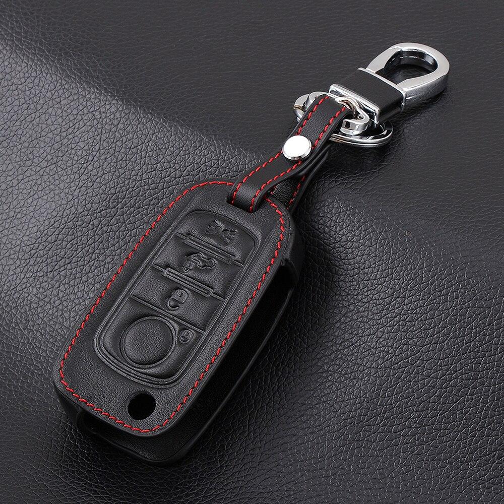 Кожаный Автомобильный брелок для ключей защитный чехол кожаный держатель для FIAT TIPO Toro 500X Nuovo Грация пульт дистанционного управления 4 кнопк...