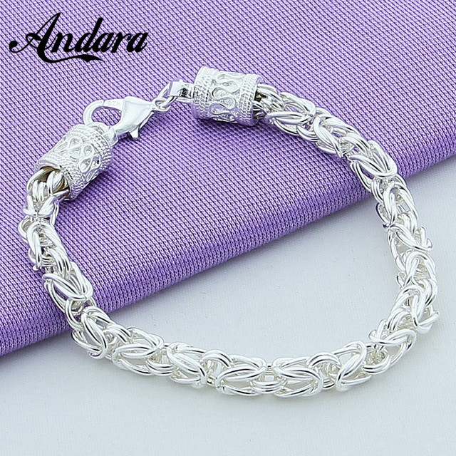Hot Ing 925 Silver Jewelry Bracelet Men 20cm Link Hand Chain Bracelets For Women Y134