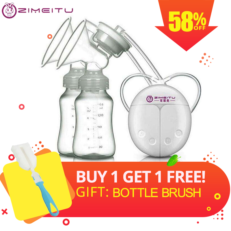 Single / Double Electric Breast Pump With Milk Bottle Infant USB BPA Free Powerful Breast Pumps Baby Breast Feeding Automatic