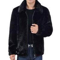 WAEOLSA Winter Man Black Fake Fur Coat Zipper Front Casual Jackts Men Faux Mink Fur Outerwear