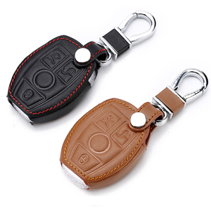 Image 2 - Echtes Leder Auto Fernbedienung Schlüssel Shell Schlüssel Fall Abdeckung für Mercedes Benz Klasse W205 E Klasse W212 EINE B S GLC GLA GLK Auto Zubehör