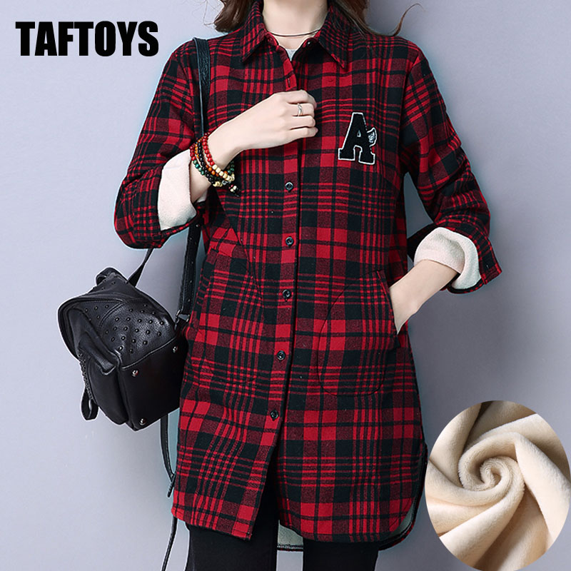Ladies Tops Plus Size Pregnant Women Cashmere Plaid Shirt Winter Maternity Clothes Thicken Long Sleeve Cotton Casual Blouses