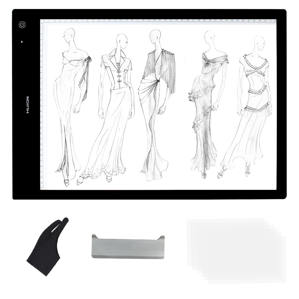 Huion LB3 LED Light Pad Adjustable Illumination Ultra Thin 8mm As Tracing Board For Desigers + Anti-fouling Glove Gift