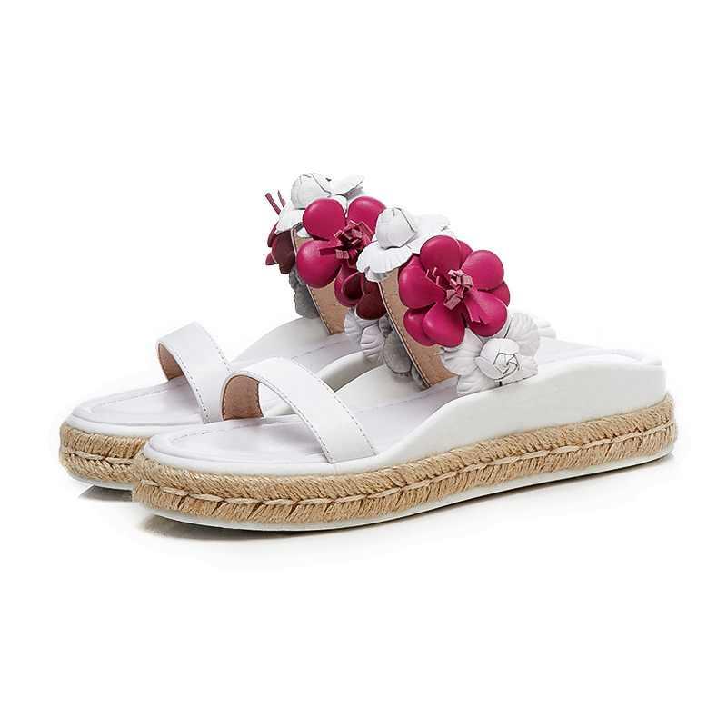 De Mezclados Rosado Magnífico Sandalias Exteriores 2018 Mules Zapatillas Colores Genuino Playa Cuero Mayor Mujer Nueva L56 blanco Llegada Plataforma Flores ZEE7nqYU