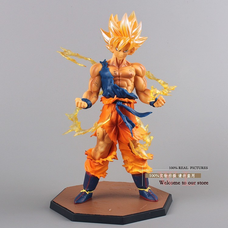New Free Shipping Anime Dragon Ball Z Super Saiyan Son Goku PVC Action Figure Collectible Toy 17CM  children toy anime figure 32cm dragon ball z super saiyan son goku lunar new year color limited ver pvc action figure collectible model toy