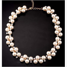 NJ-13 2014 Fashion Jewelry For Women Luxury Full Pearls Imitation Shiny Crystal Short Necklace Free Shipping