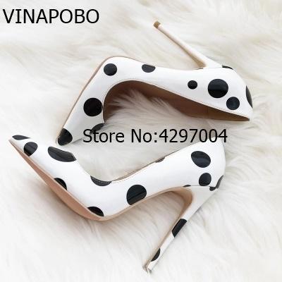 Vinapobo Big Size 35-43 2018 New Fashion white black high heels women pumps thin heel classic white sexy party wedding shoes